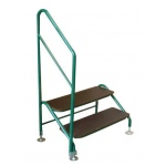 Deluxe free standing 2 tread step and handrail