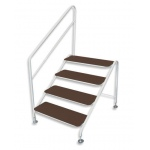 Deluxe free standing 4 tread step and handrail