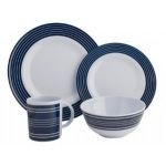 Melamine 16 Piece Dinner Set Navy Pinstripe