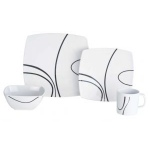 Melamine 16 Piece Square Dinner Set Zen